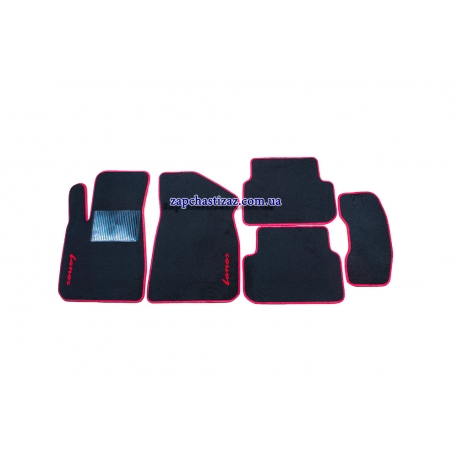 Коврики в салон ворсовые Ланос Сенс (чёрные, с красной окантовкой) LT-VCH-011