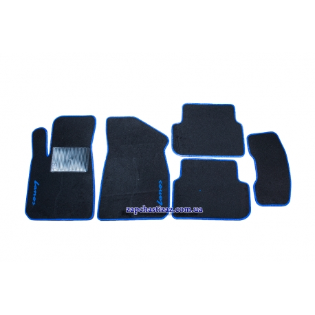 Коврики в салон ворсовые Ланос Сенс (чёрные, с синей окантовкой) LT-VCH-012