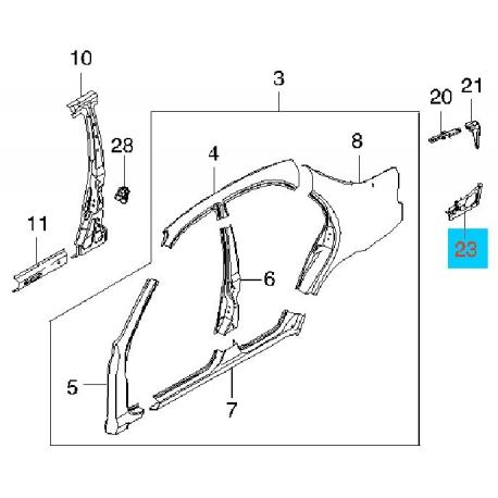 Кронштейн панели заднего крыла Ланос правый GM 96306539
