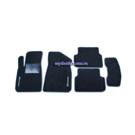 Коврики в салон ворсовые Ланос Сенс (чёрные, с серой окантовкой) LT-VCH-010