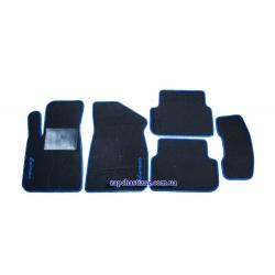 Килимки в салон ворсові Ланос Сенс (чорні, з синьою окантовкою)