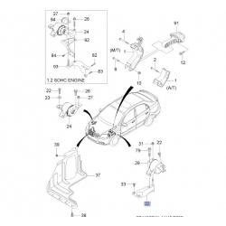 Кронштейн подушки мотора (КПП) левый МКПП Авео GM