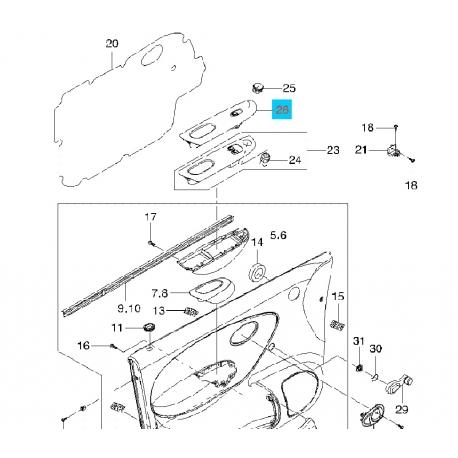 Блок кнопок стеклоподъёмника (1 кнопка) передний правый Матиз GM 96563828