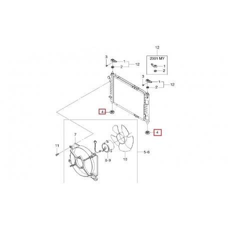 Подушка основного радиатора охлаждения нижняя Матиз GM 96280886