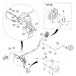 Трубка тормозная задняя левая к цилиндру Авео T200, T255 GM