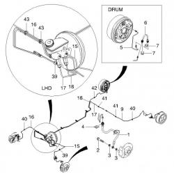 Трубка тормозная задняя левая 2-я Авео T200, T250, T255 без ABS GM