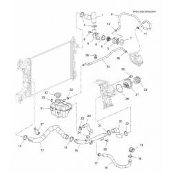 Патрубок радіатора верхній Круз 1.6 з АКПП GM