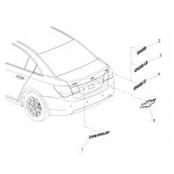 Емблема Chevrolet (хрест) на кришку багажника Круз GM