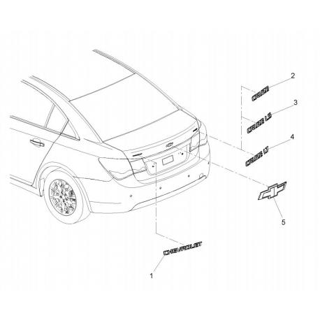Эмблема Chevrolet (крест) на крышку багажника Круз GM 95953822