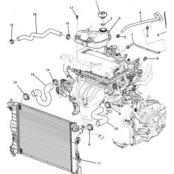 Патрубок радіатора верхній Авео T300 МКПП GM