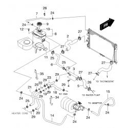 Патрубок радіатора верхній Нубіра 1.6 без кондиціонера GM