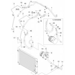 Кольцо уплотнительное трубки кондиционера Авео Т200 T250 T255 GM