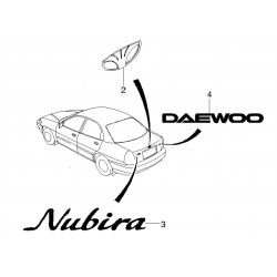 Эмблема надпись Daewoo на крышку багажника Нубира GM