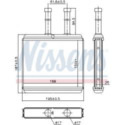 Радіатор пічки 193 мм Авео Nissens