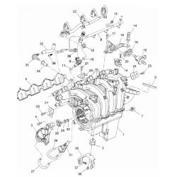 Прокладка впускного коллектора Авео Т300 Круз 1.6 LDE GM