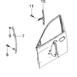 Направляюча скла передніх дверей права Леганза GM