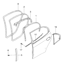 Накладка средней стойки наружная задняя правая Леганза GM