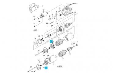 Щёткодержатель в сборе стартера Авео 0,8 кВт пластик GM